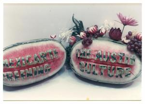 Primary view of object titled '[Two Carved Watermelons]'.