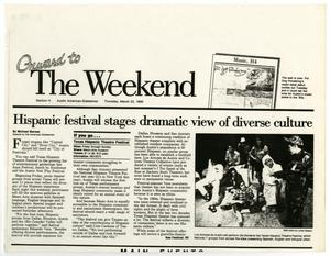 Primary view of object titled '[Clipping: Hispanic Festival Stages Dramatic View of Diverse Culture]'.