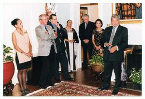Primary view of object titled '[Jorge Sedeño, Sylvia Orozco, and Others at the Governor's Mansion]'.