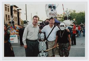 Primary view of object titled '[Patrons Enjoying Día de los Muertos Parade]'.