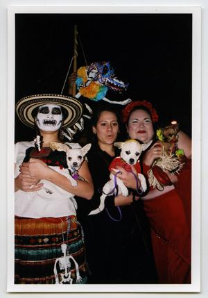 Primary view of object titled '[Women and Dogs in Costume at Día de los Muertos Celebration]'.