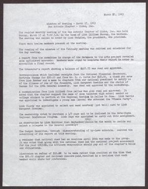 Primary view of object titled '[Minutes for the San Antonio Chapter of the Links, Inc. Meeting - March 27, 1963]'.