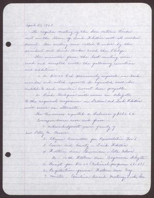 Primary view of object titled '[Minutes for the San Antonio Chapter of the Links, Inc. Meeting - April 21, 1963]'.