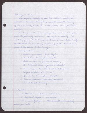 Primary view of object titled '[Minutes for the San Antonio Chapter of the Links, Inc. Meeting - February 16, 1964]'.