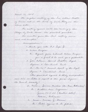 Primary view of object titled '[Minutes for the San Antonio Chapter of the Links, Inc. Meeting - March 15, 1964]'.