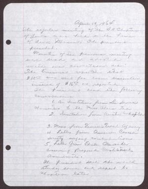 Primary view of object titled '[Minutes for the San Antonio Chapter of the Links, Inc. Meeting - April 19, 1964]'.