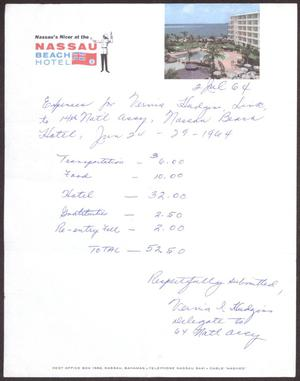 Primary view of object titled '[Expense Report for Nassau Beach Hotel Trip]'.