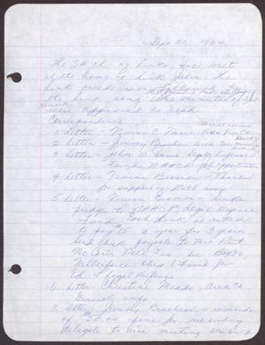 Primary view of object titled '[Minutes for the San Antonio Chapter of the Links, Inc. Meeting - September 20, 1964]'.
