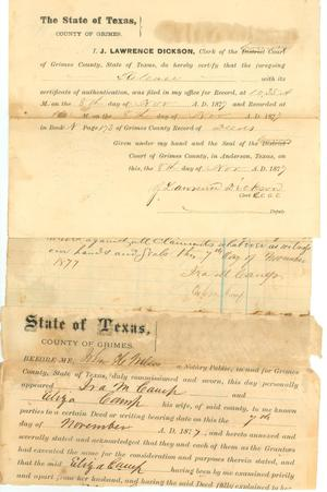 Primary view of object titled 'Deed for town lot in Navasota'.