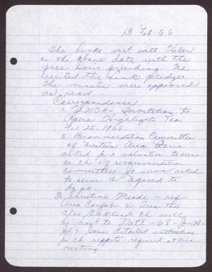 Primary view of object titled '[Minutes for the San Antonio Chapter of the Links, Inc. Meeting - February 13, 1966]'.