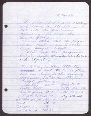 Primary view of object titled '[Minutes for the San Antonio Chapter of the Links, Inc. Meeting - March 2, 1966]'.