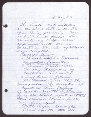 Primary view of object titled '[Minutes for the San Antonio Chapter of the Links, Inc. Meeting - May 15, 1966]'.