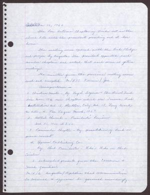 Primary view of object titled '[Minutes for the San Antonio Chapter of the Links, Inc. Meeting - October 16, 1966]'.