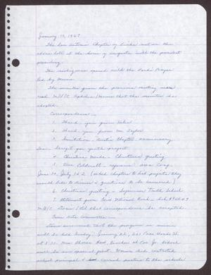 Primary view of object titled '[Minutes for the San Antonio Chapter of the Links, Inc. Meeting - January 15, 1967]'.