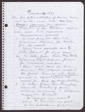 Primary view of object titled '[Minutes for the San Antonio Chapter of the Links, Inc. Meeting - November 20, 1967]'.