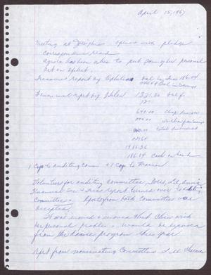 Primary view of object titled '[Minutes for the San Antonio Chapter of the Links, Inc. Meeting - April 15, 1967]'.