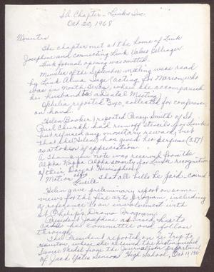Primary view of object titled '[Minutes for the San Antonio Chapter of the Links, Inc. Meeting - October 20, 1968]'.