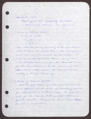 Primary view of object titled '[Status Report: Hospitality Committee - April 20, 1969]'.