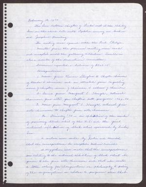 Primary view of object titled '[Minutes for the San Antonio Chapter of the Links, Inc. Meeting - February 15, 1970]'.