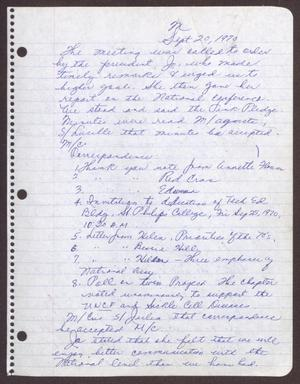 Primary view of object titled '[Minutes for the San Antonio Chapter of the Links, Inc. Meeting - September 20, 1970]'.