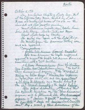 Primary view of object titled '[Minutes for the San Antonio Chapter of the Links, Inc. Meeting - October 18, 1970]'.