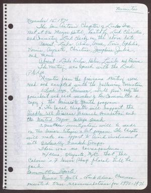 Primary view of object titled '[Minutes for the San Antonio Chapter of the Links, Inc. Meeting - November 15, 1970]'.