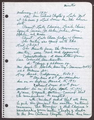 Primary view of object titled '[Minutes for the San Antonio Chapter of the Links, Inc. Meeting - February 21, 1971]'.