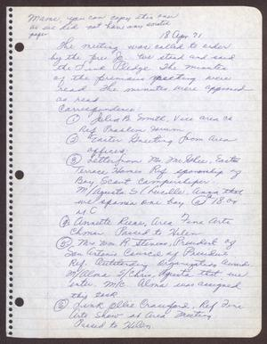 Primary view of object titled '[Minutes for the San Antonio Chapter of the Links, Inc. Meeting - April 18, 1971]'.