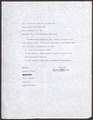 Primary view of object titled '[Letter from Membership Committee to San Antonio Chapter of Links, Inc. -  November 1971]'.