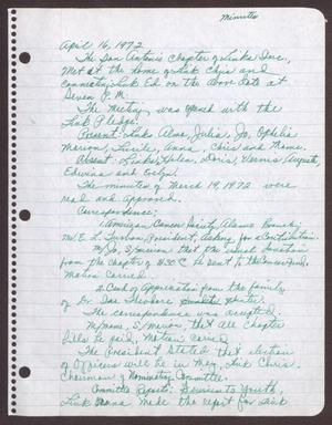 Primary view of object titled '[Minutes for the San Antonio Chapter of the Links, Inc. Meeting - April 16, 1972]'.