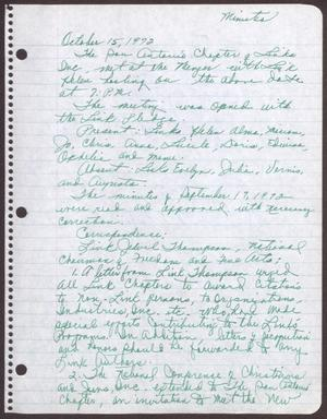 Primary view of object titled '[Minutes for the San Antonio Chapter of the Links, Inc. Meeting - October 15, 1972]'.