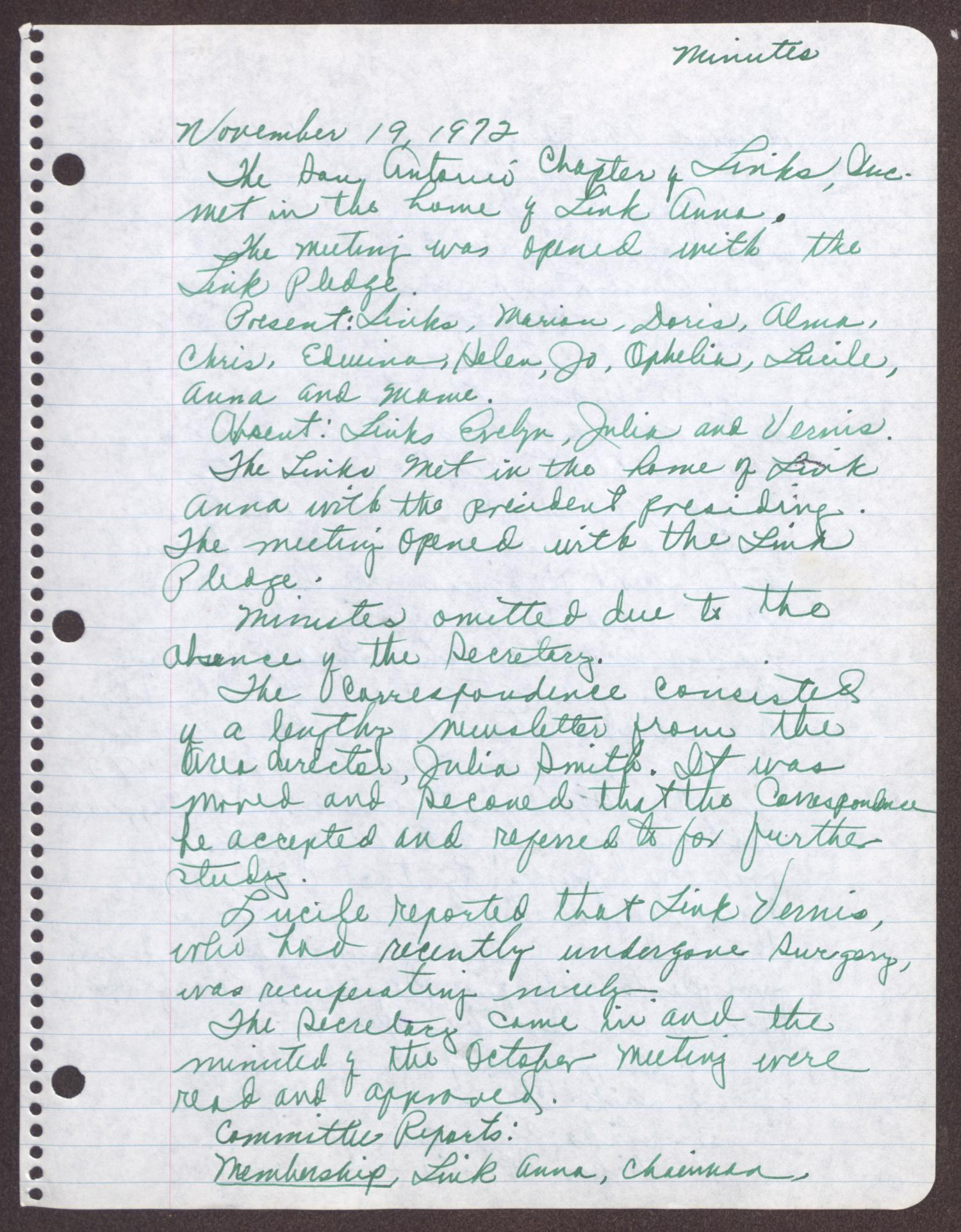 [Minutes for the San Antonio Chapter of the Links, Inc. Meeting - November 19, 1972]                                                                                                      [Sequence #]: 1 of 4