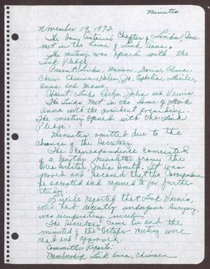 Primary view of object titled '[Minutes for the San Antonio Chapter of the Links, Inc. Meeting - November 19, 1972]'.