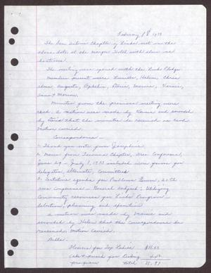 Primary view of object titled '[Minutes for the San Antonio Chapter of the Links, Inc. Meeting - February 18, 1973]'.