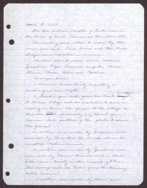 Primary view of object titled '[Minutes for the San Antonio Chapter of the Links, Inc. Meeting - April 15, 1973]'.