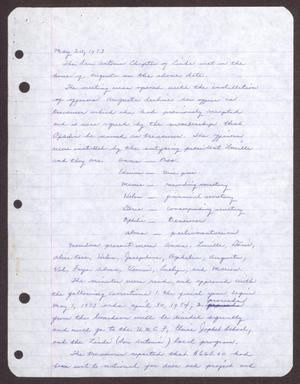 Primary view of object titled '[Minutes for the San Antonio Chapter of the Links, Inc. Meeting - May 20, 1973]'.