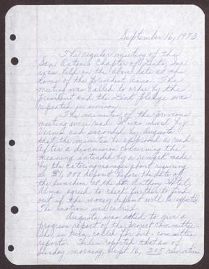 Primary view of object titled '[Minutes for the San Antonio Chapter of the Links, Inc. Meeting - September 16, 1973]'.