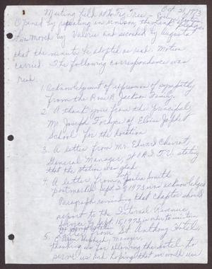 Primary view of object titled '[Minutes for the San Antonio Chapter of the Links, Inc. Meeting - October 21, 1973]'.