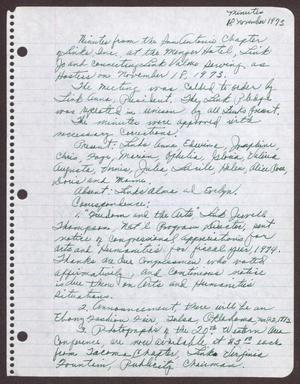Primary view of object titled '[Minutes for the San Antonio Chapter of the Links, Inc. Meeting - November 18, 1973]'.