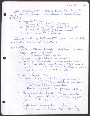 Primary view of object titled '[Minutes for the San Antonio Chapter of the Links, Inc. Meeting - November 16, 1974]'.