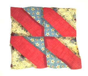 Primary view of object titled '[Red-and-Blue Quilt Block]'.
