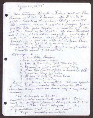 Primary view of object titled '[Minutes for the San Antonio Chapter of the Links, Inc. Meeting - January 19, 1975]'.