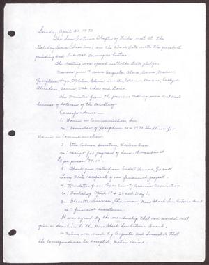 Primary view of object titled '[Minutes for the San Antonio Chapter of the Links, Inc. Meeting - April 20, 1975]'.
