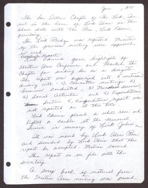 Primary view of object titled '[Minutes for the San Antonio Chapter of the Links, Inc. Meeting - June 1975]'.
