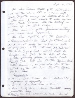 Primary view of object titled '[Minutes for the San Antonio Chapter of the Links, Inc. Meeting - September 21, 1975]'.