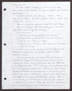 Primary view of object titled '[Minutes for the San Antonio Chapter of the Links, Inc. Meeting - May 16, 1976]'.