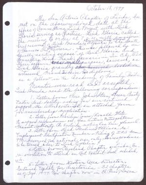 Primary view of object titled '[Minutes for the San Antonio Chapter of the Links, Inc. Meeting - October 18, 1977]'.