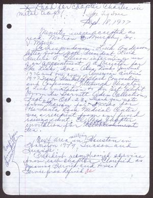 Primary view of object titled '[Minutes for the San Antonio Chapter of the Links, Inc. Meeting - September 18, 1977]'.
