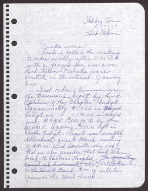Primary view of object titled '[Minutes for the San Antonio Chapter of the Links, Inc. Meeting - February 17, 1979]'.