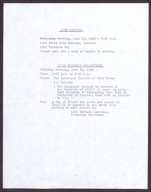 Primary view of object titled '[Links Chapter Documentation: Notice of upcoming events - June 1985]'.